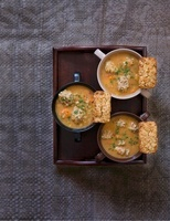 Pearl barley soup with meatballs and corn and pearl barley b