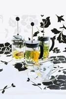 Various herbal teas in teapots