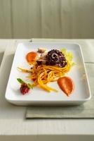Saffron spaghetti with octopus