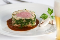 Veal fillet wrapped in white sausage