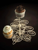 Two cupcakes on a cake stand