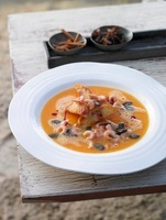 Pumpkin soup with North Sea prawns