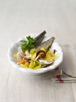 Sarde fritte con polipo e patate (baked sardines with octopu