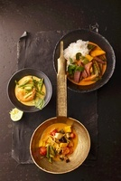 Green prawn curry, red duck curry and yellow vegetable curry