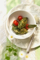 Spinach gnocchi with sage and cherry tomatoes