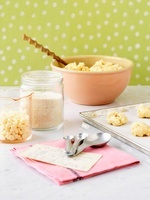 White chocolate chip cookies with ingredients