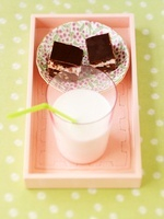 Brownies and a glass of milk