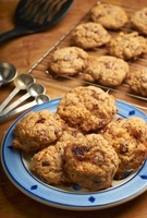 Homemade Hermit Cookies on a Plate; Cookies on Cooling Rack