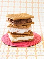 Ice Cream and Graham Cracker Sandwiches; Stacked
