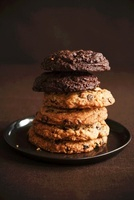 Double Chocolate Chip and Chocolate Chip Cookies; Stacked on