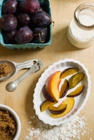 Baking Ingredients for Plum and Peach Tart