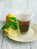 Hot Lemon Tea with Condensation; Lemon Slices
