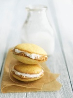 Peanut Butter and Marshmallow Cream Whoopie Pies with Milk