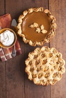 Pumpkin and Apple Pie; From Above; Whipped Cream