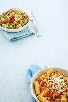 Two Pasta Dishes; Rigatoni with Tomato Meat Sauce; Wagon Whe