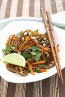 Asian Soba Noodles with Carrots and Peanuts; Chopsticks and