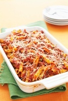 Penne Baked in Tomato Sauce; In Baking Dish
