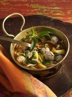 Vietnamese noodle soup with pork dumplings
