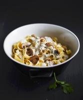 Tagliatelle with mushrooms and cream sauce