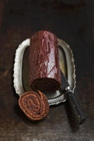 Chocolate roulade, cut