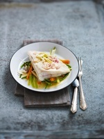 Halibut with vegetables and champagne sauce