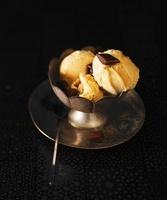Caramel ice cream in an antique ice cream bowl