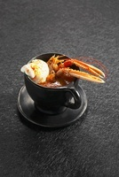 Norway lobster soup with a scoop of vanilla-saffron ice crea