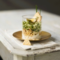 Zucchini with crackers and goat cheese in a glass
