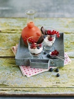 Parfaits with ricotta, red berries and chocolate