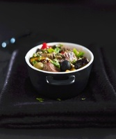 Beef with olives, peppers and eggplant