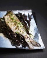 Bass on seaweed