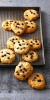 Chocolate Chip Cookies on a Striped Cloth