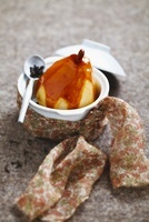 Poached pears with tea sauce
