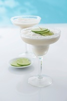 Frozen Yucatan margarita with coconut liqueur and limes