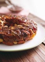 Nut ring with dried fruit and drizzled chocolate