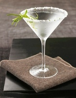 Chilled Rosemary Martini with Salted Rim