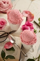 Two Cups of Rose Ice Cream with Fresh Roses; An Open Book, S