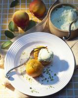 Pistachio ice cream with poached peaches