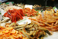 Shrimp, Langostino, Lobster, Crabs on Ice at the La Boqueria
