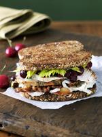 Turkey Sandwich with Bacon and Cranberry Sauce on Multi-Grai 22199073025| 写真素材・ストックフォト・画像・イラスト素材|アマナイメージズ