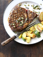 Rosemary and Garlic Steak with Veggies; From Above