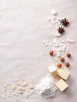 Various baking ingredients creating a frame
