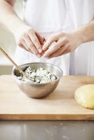 A Chef Preparing Ricotta Filling for Pasta