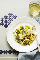 Pasta with Zucchini, Asparagus and Peas