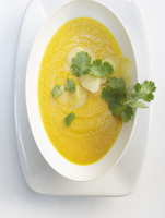 Carrot and ginger soup with coriander 22199073465| 写真素材・ストックフォト・画像・イラスト素材|アマナイメージズ