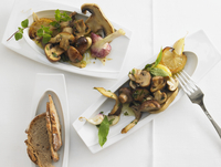 Antipasti with mushrooms, garlic and lemons
