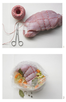 Turkey roulade in an oven bag being made