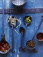 Cast Iron Spoons with Spices, Anchovies and Sauce