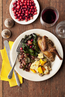 Thanksgiving Place Setting with a Glass of Wine; From Above
