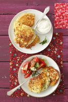 Ricotta cakes with tomato salad and pasta cakes with bacon a